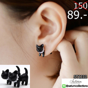 2559-05-24 01_32_10-1 pair!!Fashion Cute Woman Lady Girl Black Cat Pearl Stud Earrings Puncture Ear