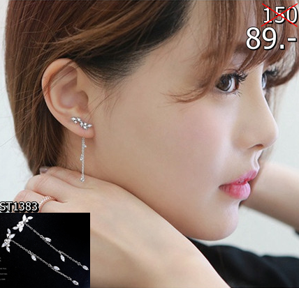 2559-10-18 21_01_37-Elegant 925 Silver Pin Earrings Fashion Long Tassel Leaves Cubic Zircon Diamond