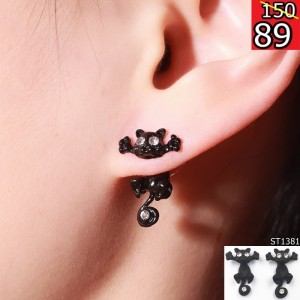 1-Pair-New-Fashion-Cat-earring-cute-fine-Black-Kitten-Jewelry-Piercing-Ear-Stud-Earrings-for