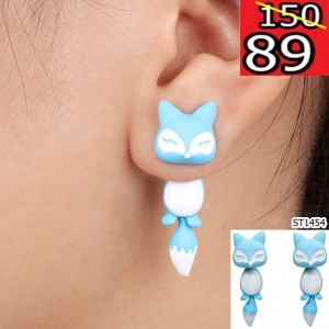 New-Fashion-13-Colors-Yellow-Purple-Black-3D-Animal-Cute-Fox-Stud-Earrings-For-Women-Fine
